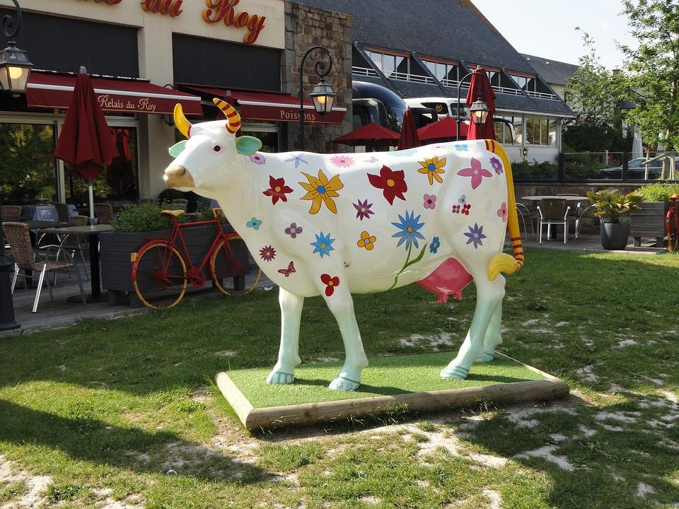 Cow, Design, Fantasy, Full Size, Colorful, Statue