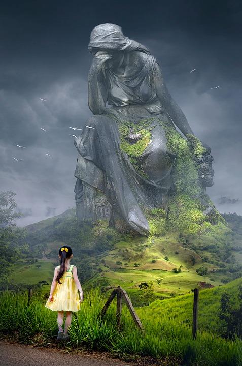 Fantasy, Landscape, Monument, Child, Girl, Statue, Sad