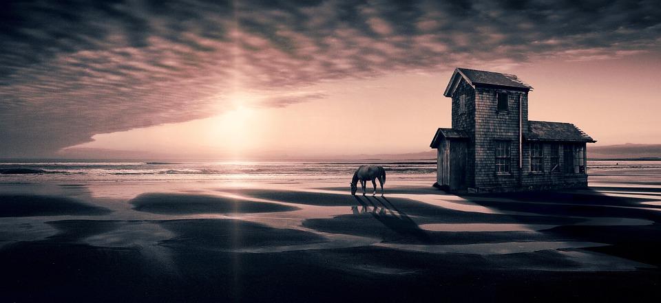 Fantasy, Landscape, House, Beach, Sky, Sun, Contrast