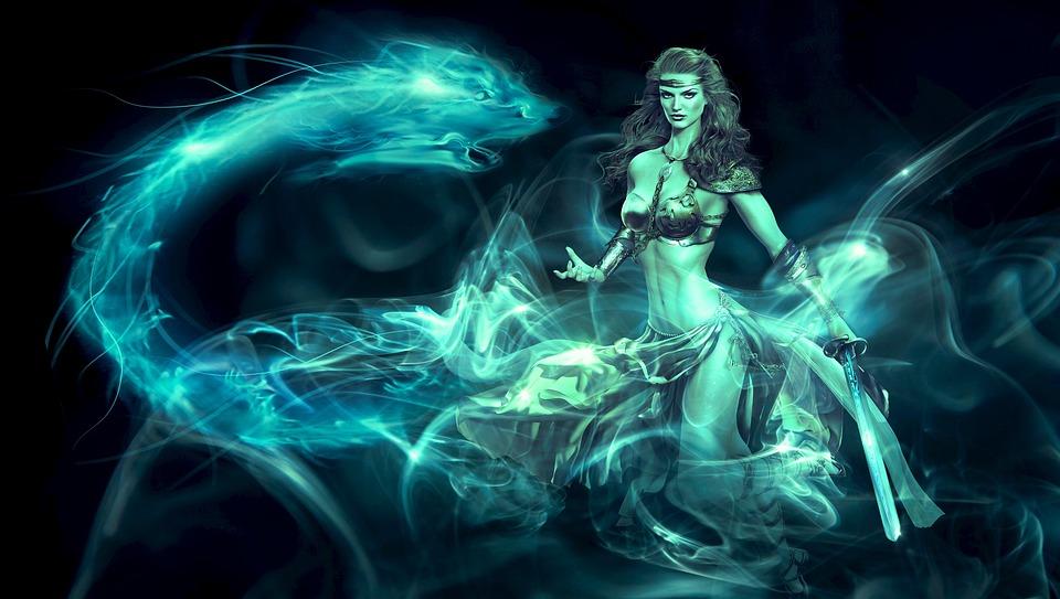 Fantasy, Amazone, Light, Nature, Veil, Turquoise