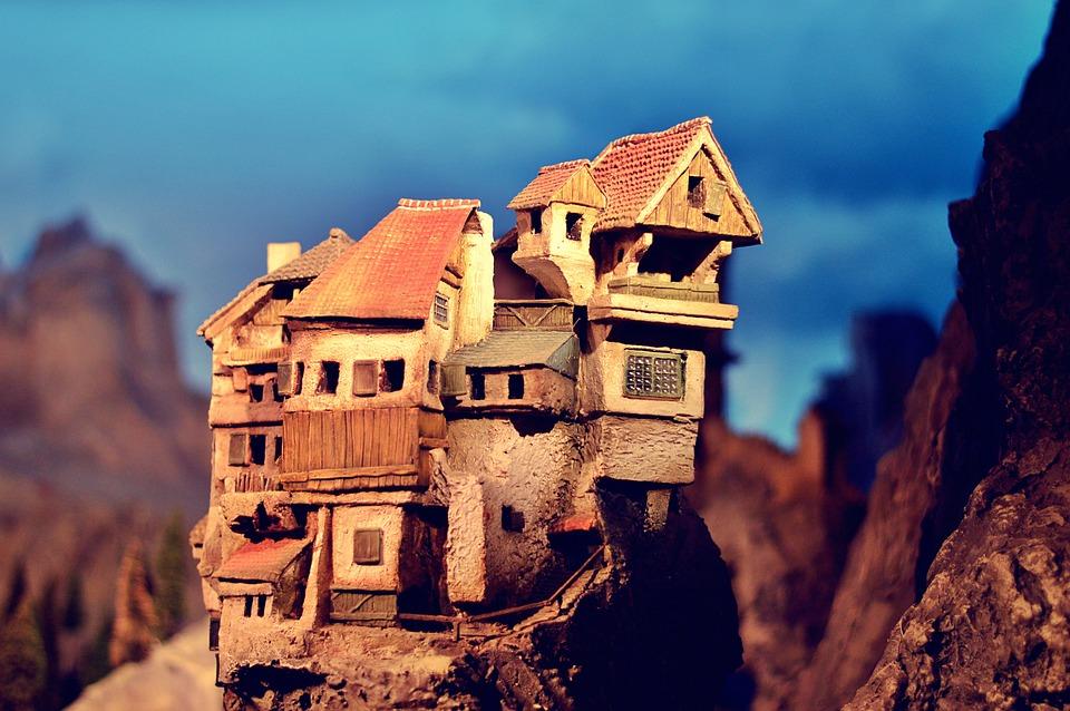 Village, Mountains, Fantasy, Miniature, Mountain Top