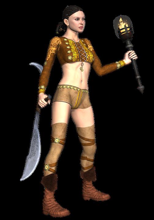 Girl, Warrior, Weapon, Fantasy, Hair, Torch, 3d