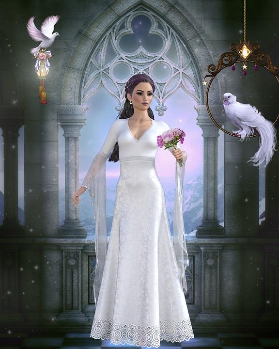 Fantasy, Women, Birds, Window, Wedding