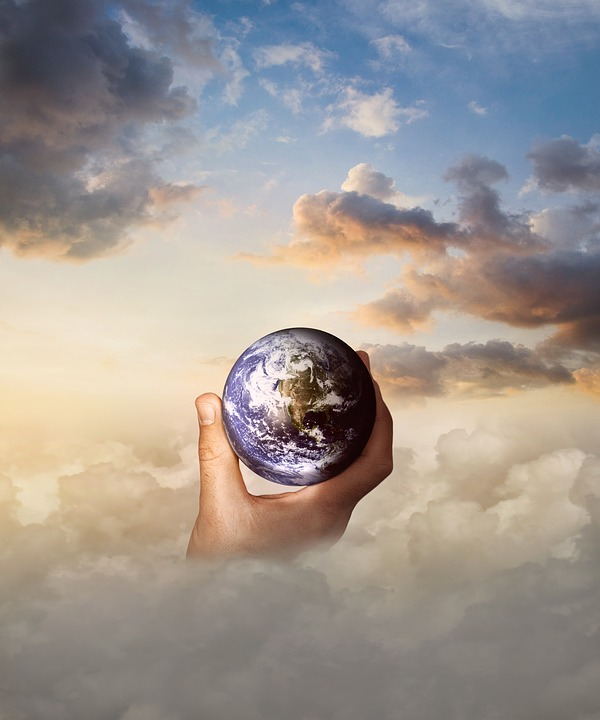 Globe, Hand, Clouds, Sky, World, Fantasy, Environment