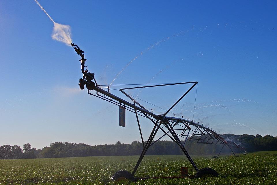 Irrigation, Farm, Agriculture, Field, Sprinkler, Growth