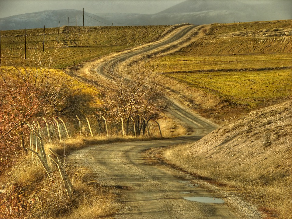 Ankara, Road, Fields, Farm, Landscape, Mountains, Hills