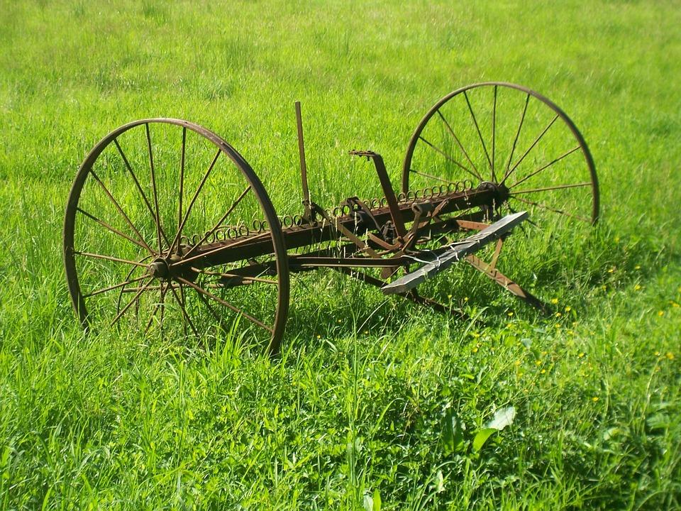 Antique, Farm, Equipment, Grass, Metal