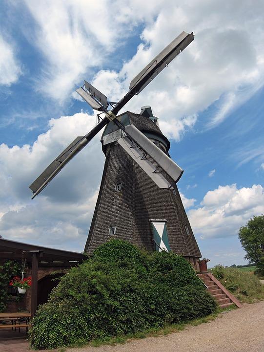 Windmill, Donsbrüggen, Farm, Windpower, Rural, Field
