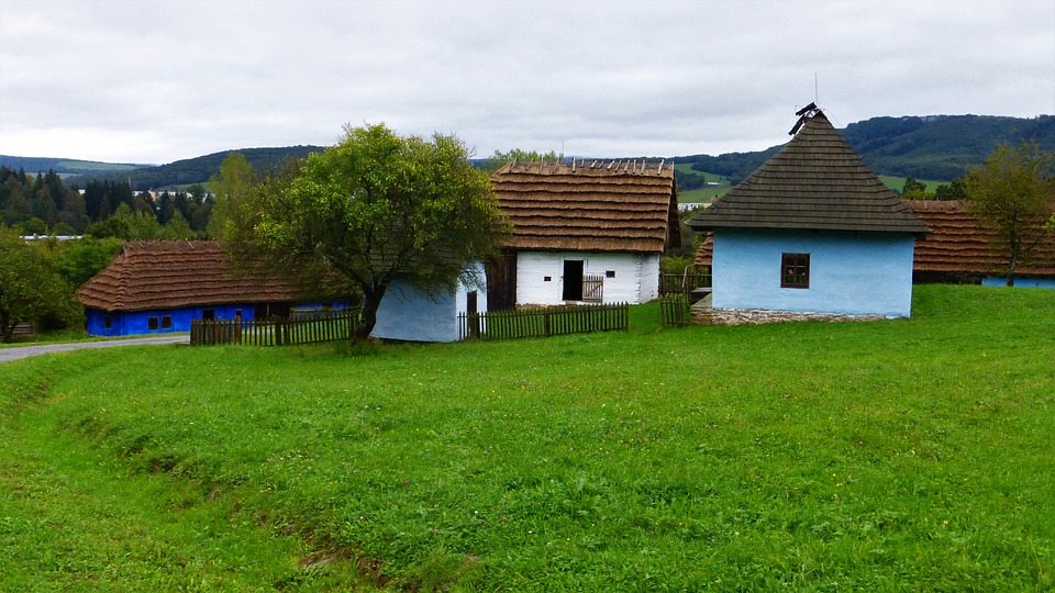 Building, Hungary, Farm, Prairie, Trees, Old, Color