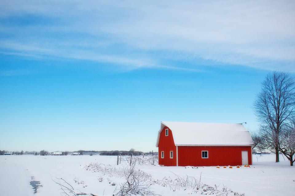 Winter Barn, Snow, Rural, Farm, Red, Country
