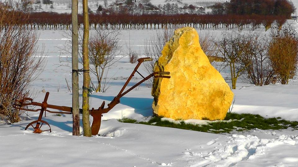 Wintry, Winter Magic, Landscape, Iron Plow, Rock, Farm