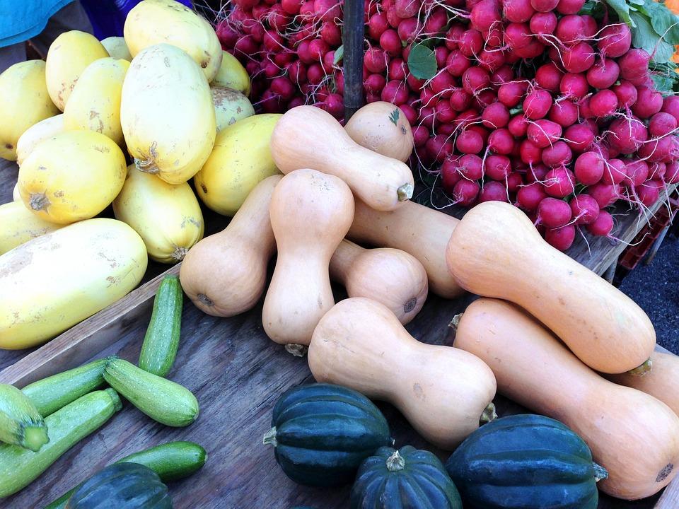Farmers Market, Vegetables, Squash, Radishes, Radish