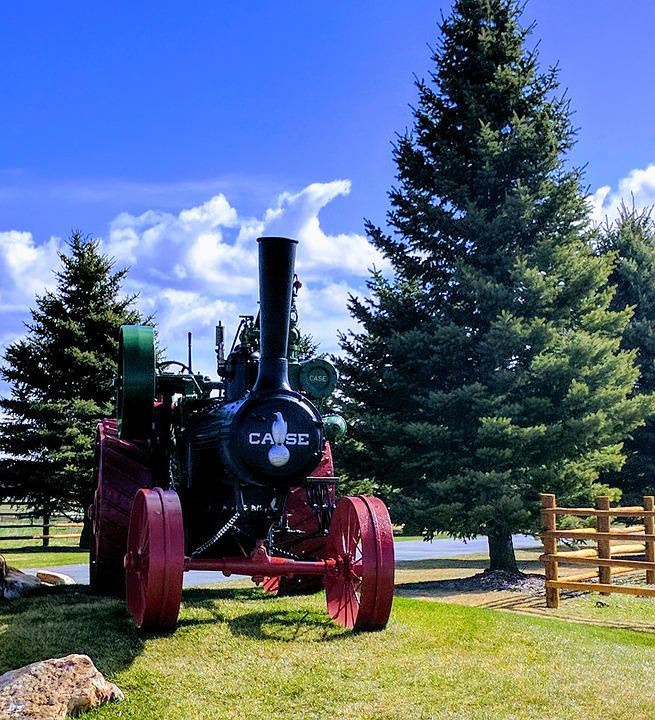 Tractor, Steam, Case, Farming, 1900, Agriculture