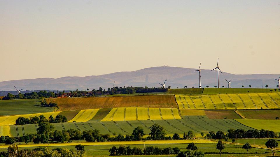 Windmills, Fields, Farmlands, Hills, Wind Turbines