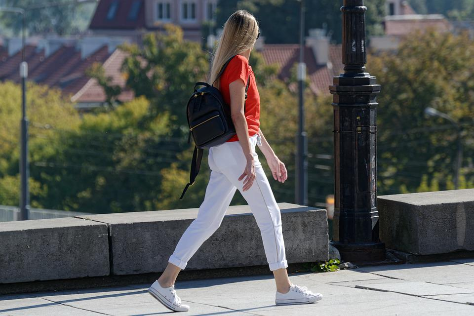 Girl, Walk, Pavement, Woman, Blonde, Backpack, Fashion