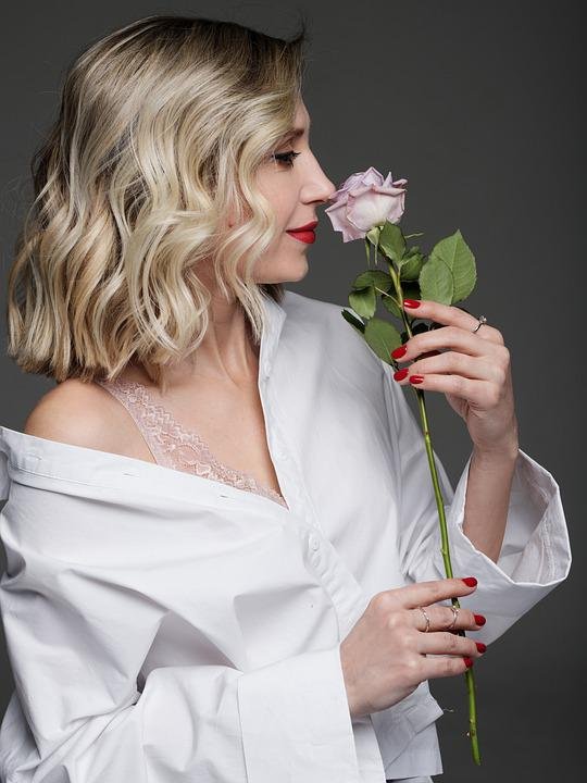 Woman, Beauty, Rose, Flower, Smelling, Fashion, Style