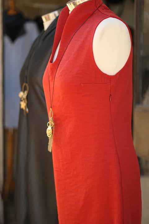 Fashion, Dress, Red, Pendant, Necklace, Mannequin