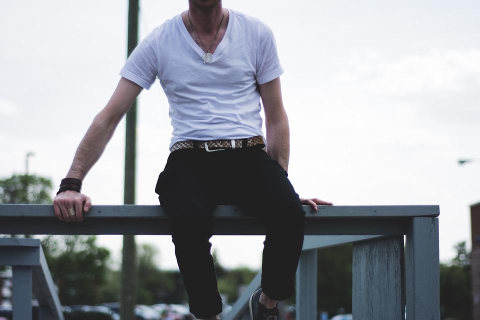 White, Tshirt, Vneck, Fashion, Guy, Man, People