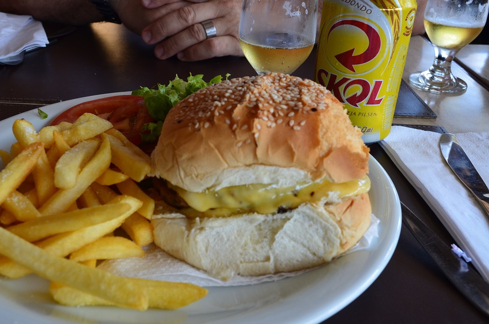 Fast Food, Burger, French Fries, Beer, Bar