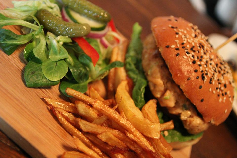 Burger, Fries, Salad, Calories, Fried, Fastfood, Snack