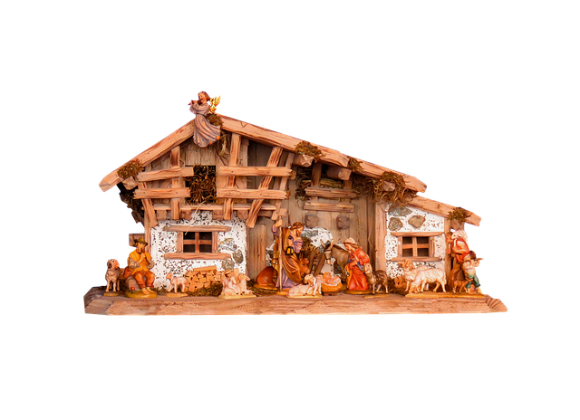 Christmas, Nativity Scene, Crib, Father Christmas