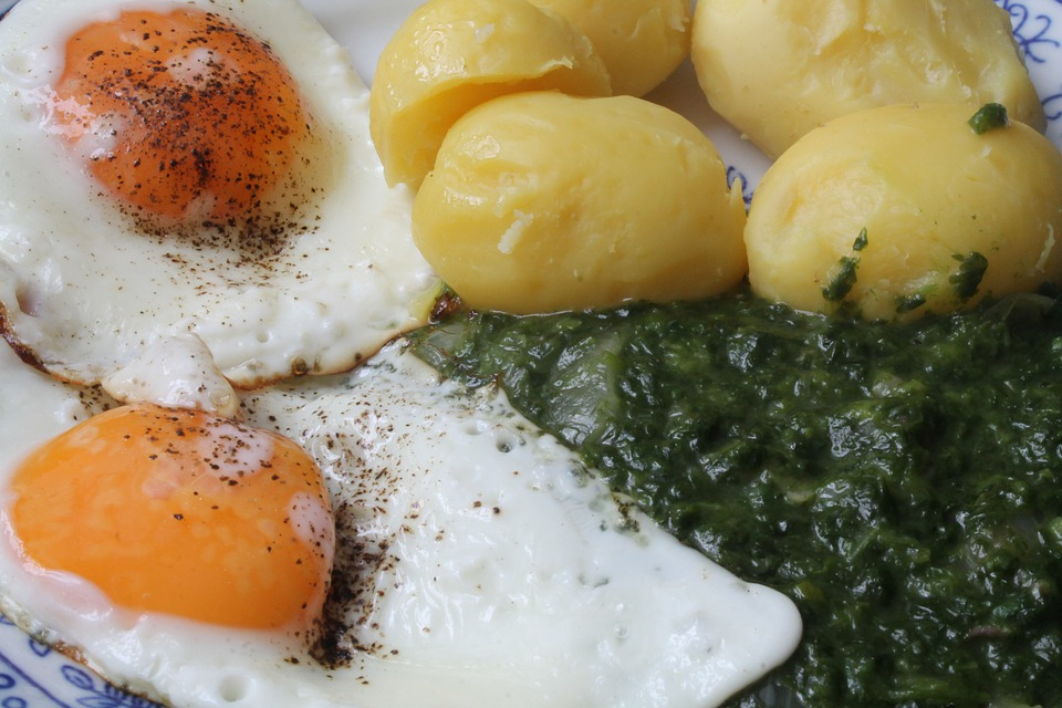 Eat, Fried, Salt Potatoes, Spinach, Favorite Dish, Dine