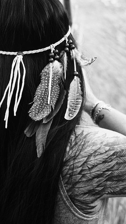 Girl, Indian, Feathers, Hair, Tattoo, Back, Model