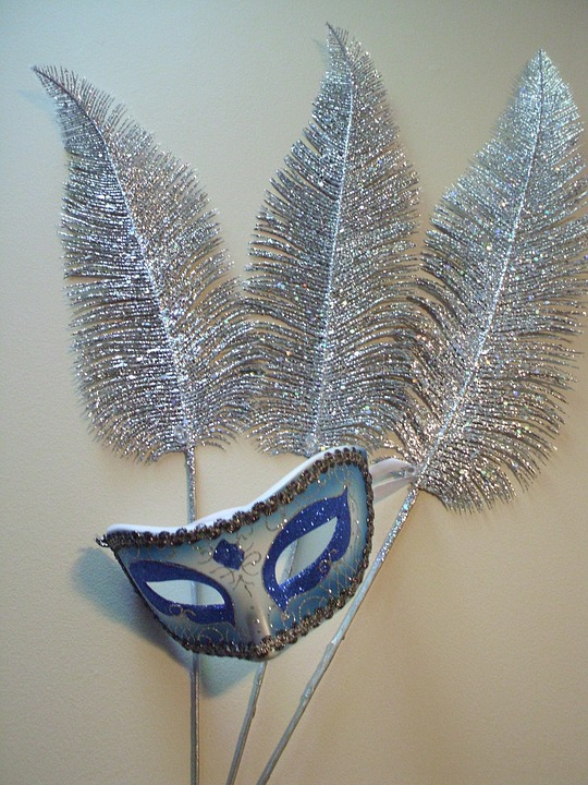 Mask, Feathers, Masquerade, Sliver, Glitter, Blue