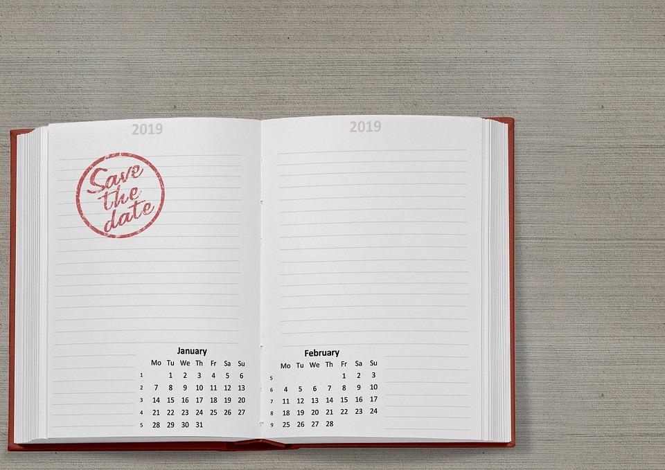 Calendar, Book, 2019, Date, January, February, Week