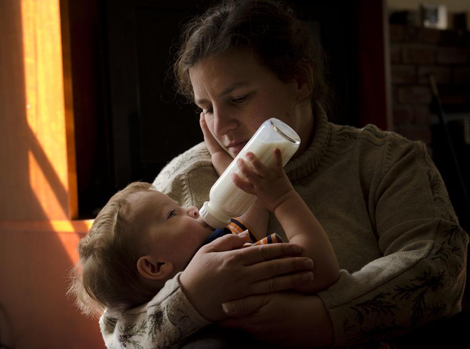 Mother, Son, Bottle, Feeding
