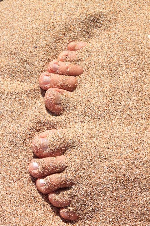Barefoot, Beach, Covered, Feet, Female, Sant, Sexy
