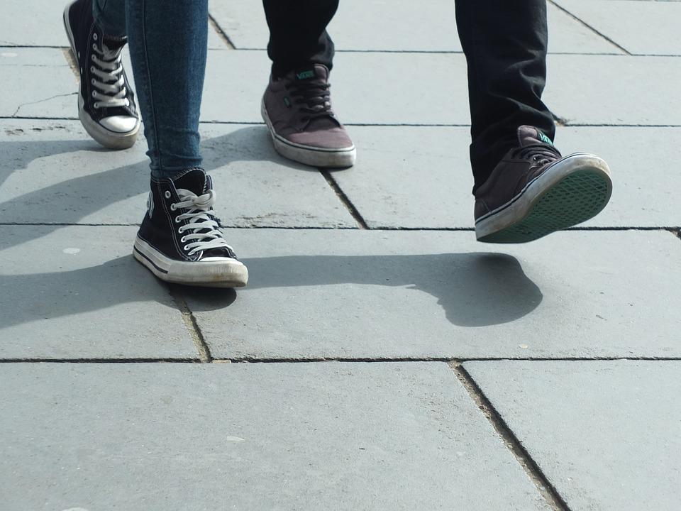 Walking, Feet, Shoes, Step, Strolling, Pavement