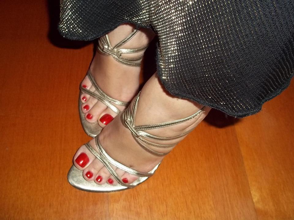 Feet, Female Feet, Red Nails