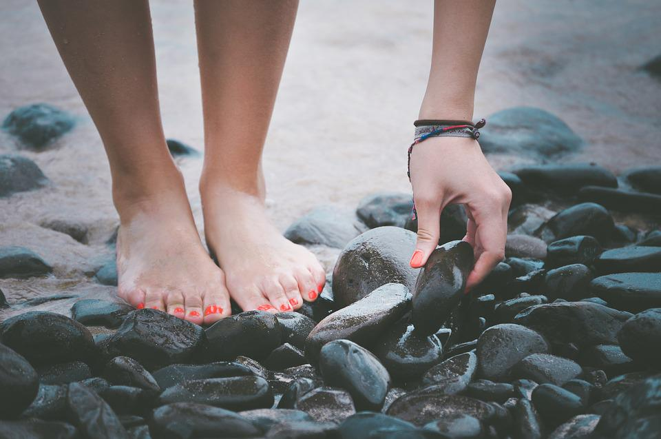 Beach, Feet, Hand, Pebbles, Sand, Seashore, Stones, Wet