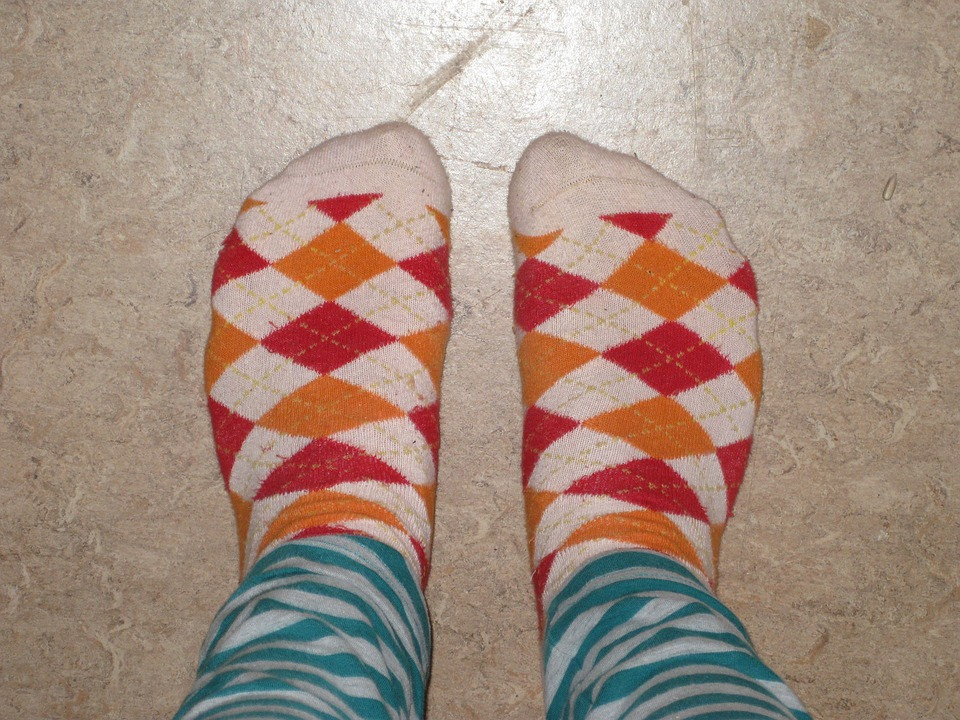 Feet, Socks, Checkered, Striped, Pants, Colorful, Color