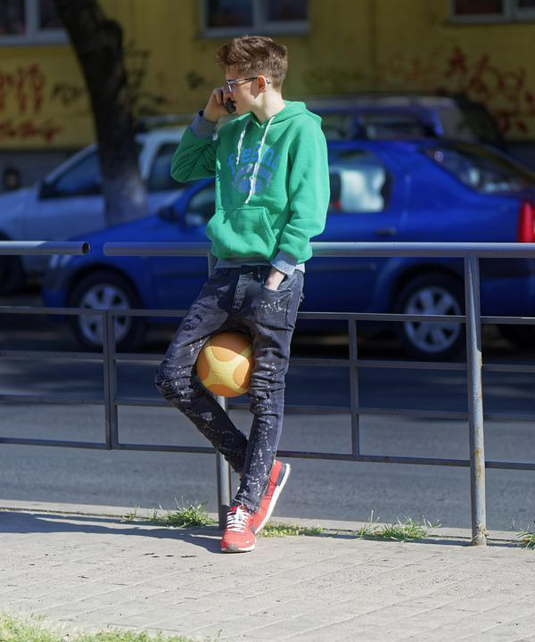 Boy, Young, Teenager, Clothes, Sports, Ball, Feet