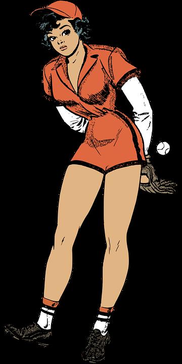 Baseball, Female, Pinup, Retro, Sport