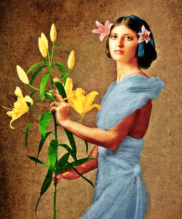 Woman, Flowers, Yellow, Lady, Bloom, Female