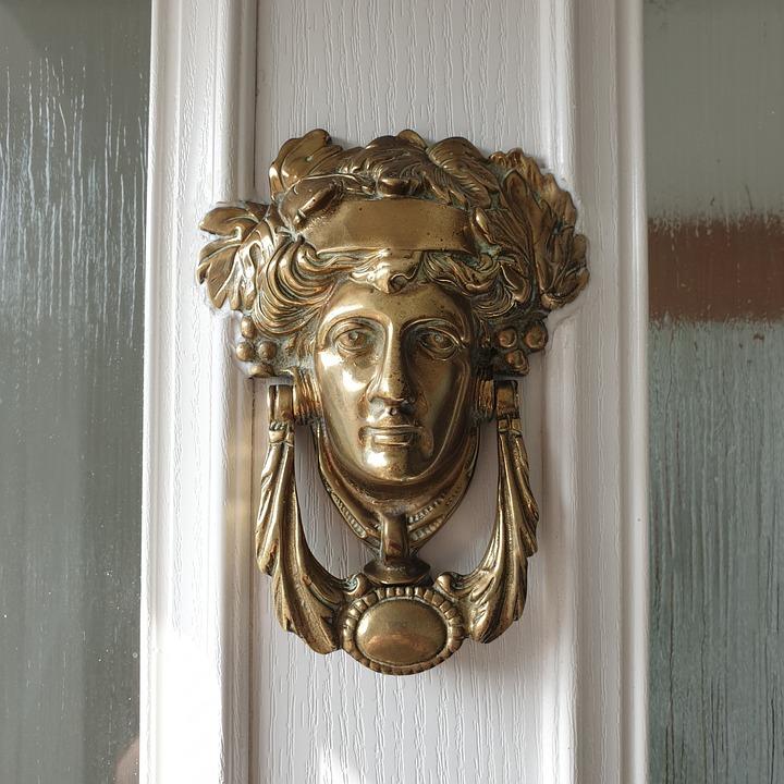 Door Knocker, Brass, Woman, Female, Door, Decorative