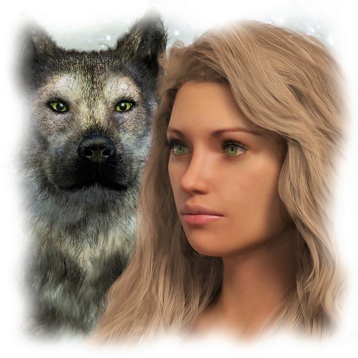 Wolf, Woman, Portrait, Fantasy, Female, Magic, Mystical
