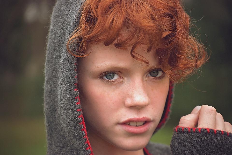 Girl, Face, Blue Eyes, Hood, Red Hair, Female, Portrait