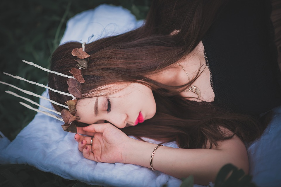 Girl, Sleep, Field, Female, Sunset, Style, Model, Woman
