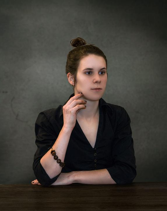 Woman, Female, Sitting, Portrait, Looking, Young, Girl