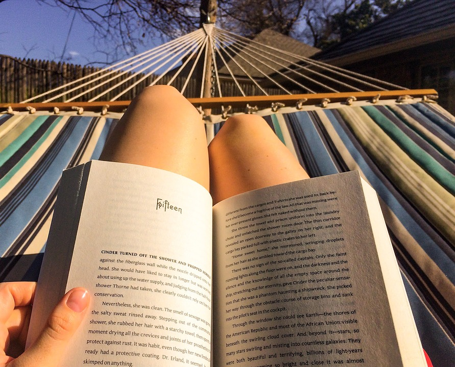 Reading, Hammock, Relax, Female, Summer, Woman, Book