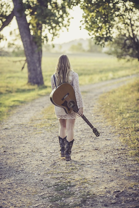 Guitar, Country Road, Young, Female, Musician, Outdoor
