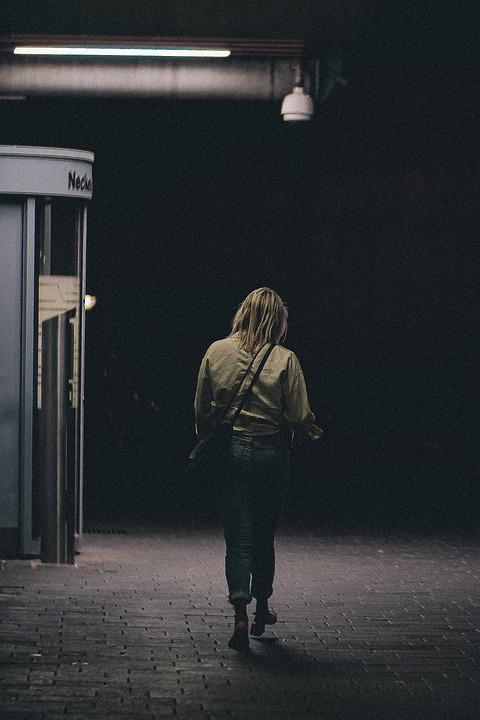Woman, Walking, Street, Alone, Girl, Female, Dark