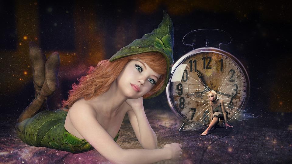 Fantasy, Fee, Clock, Magic, Female, Time, Dreams