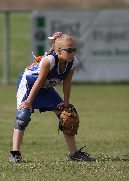 Softball, Fielder, Female, Player, Outfield, Waiting