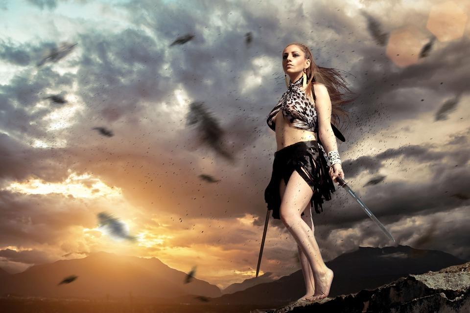 Warrior, Woman, Female, Sunset, Weapon, Girl
