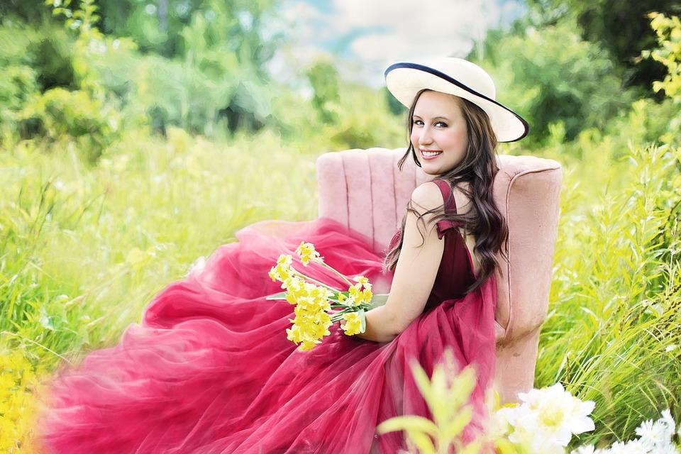 Pretty Woman, Flowers, Yellow, Field, Female, Woman
